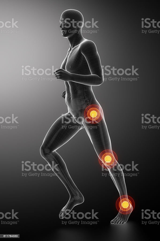 Joint knee, hip and ankle stock photo