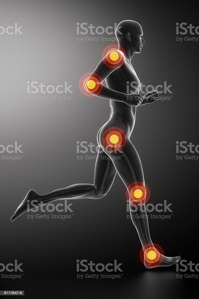 Joint knee, hip and ankle - running man leg scan stock photo