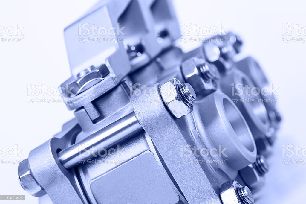 Joint of two flanges by bolts and nuts stock photo