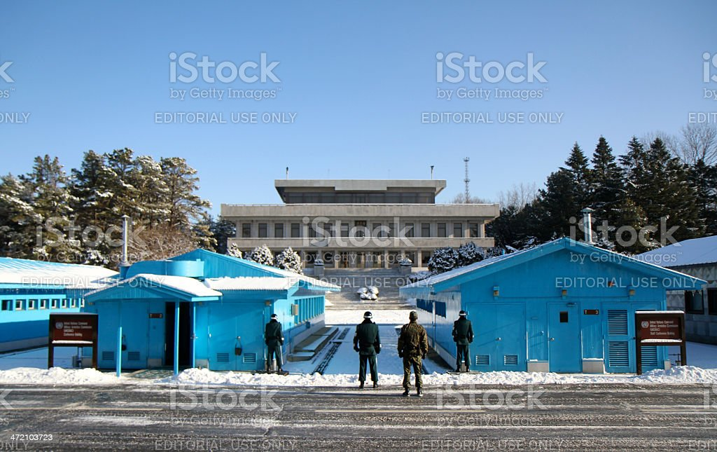 Joint Security Area during winter, at Panmunjom stock photo
