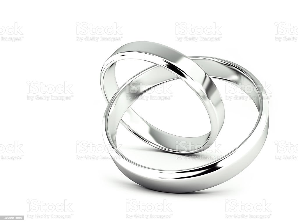 Jointed wedding rings, 3d rendering stock photo