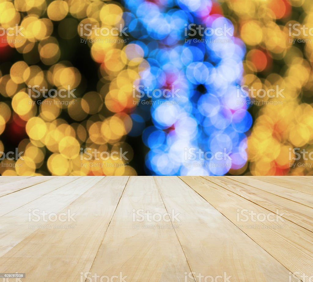 Jointed wood table top on Xmas New Year theme stock photo