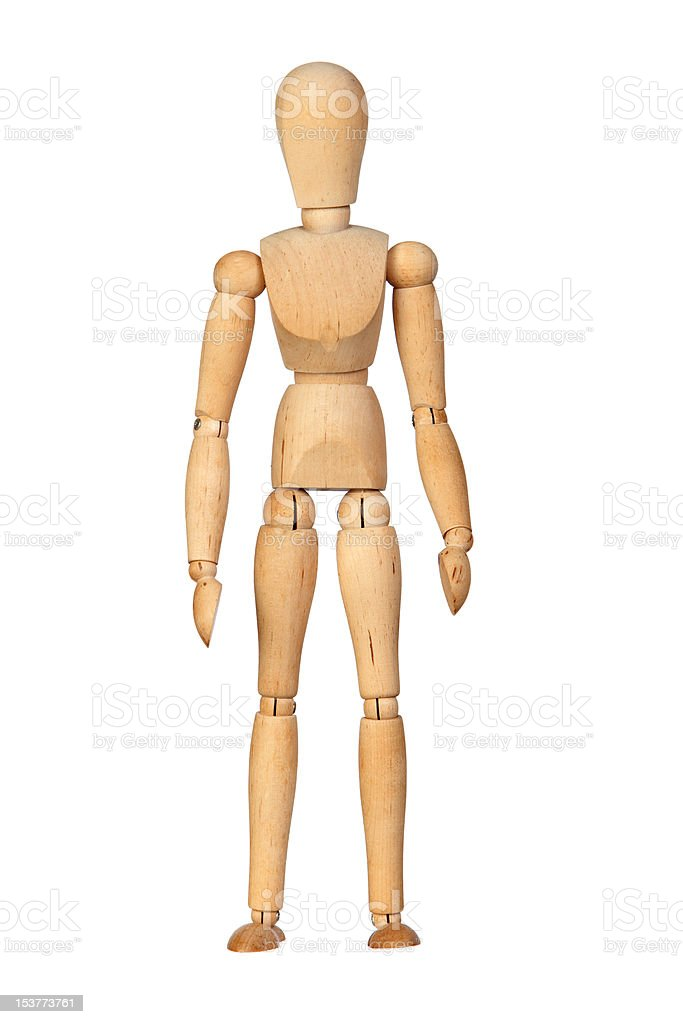 Jointed wooden mannequin stock photo