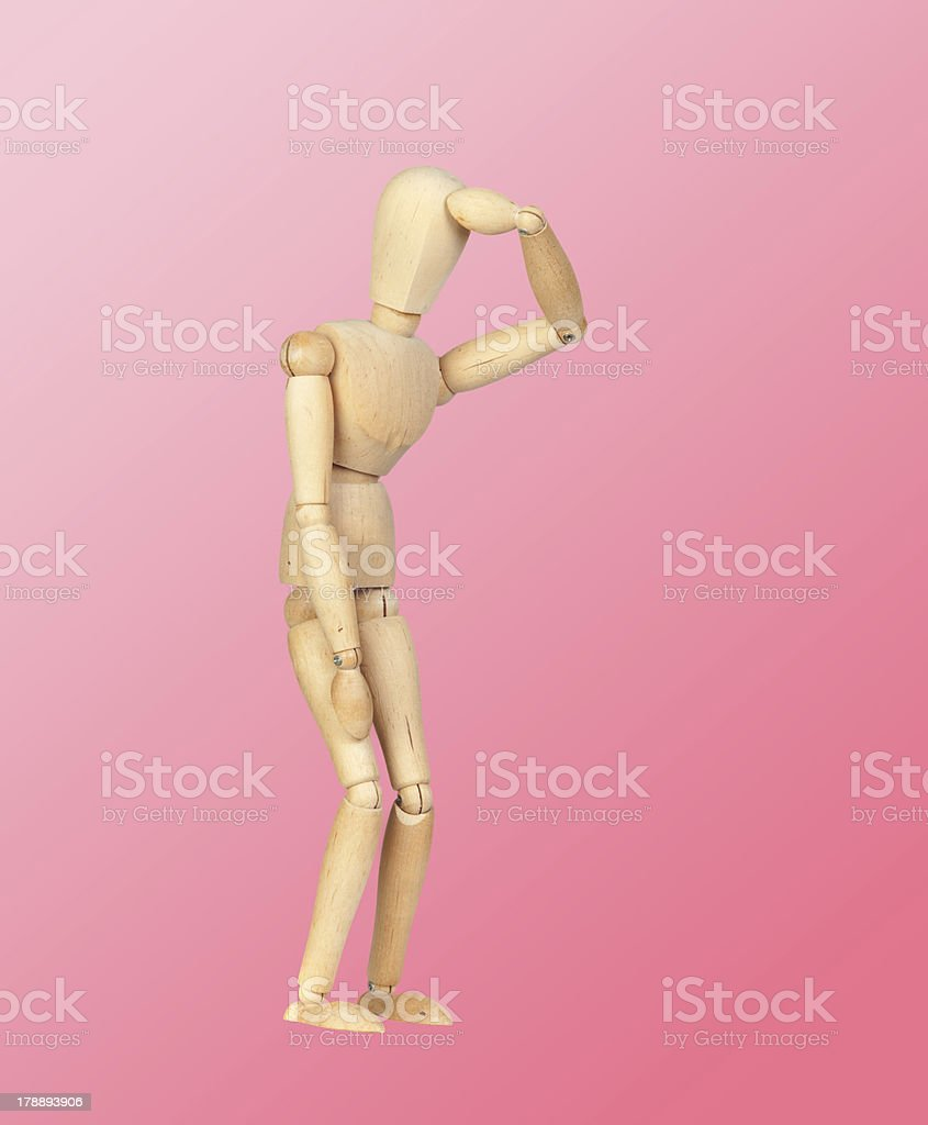 Jointed wooden mannequin representing discouragement royalty-free stock photo