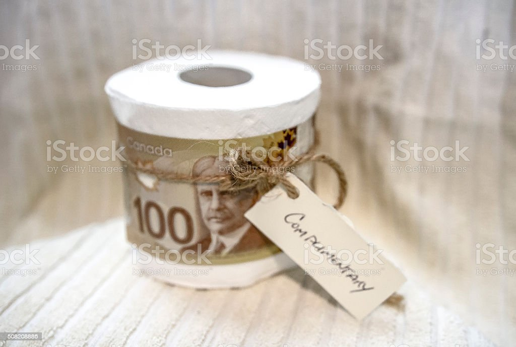 Joke of Canadian currency stock photo
