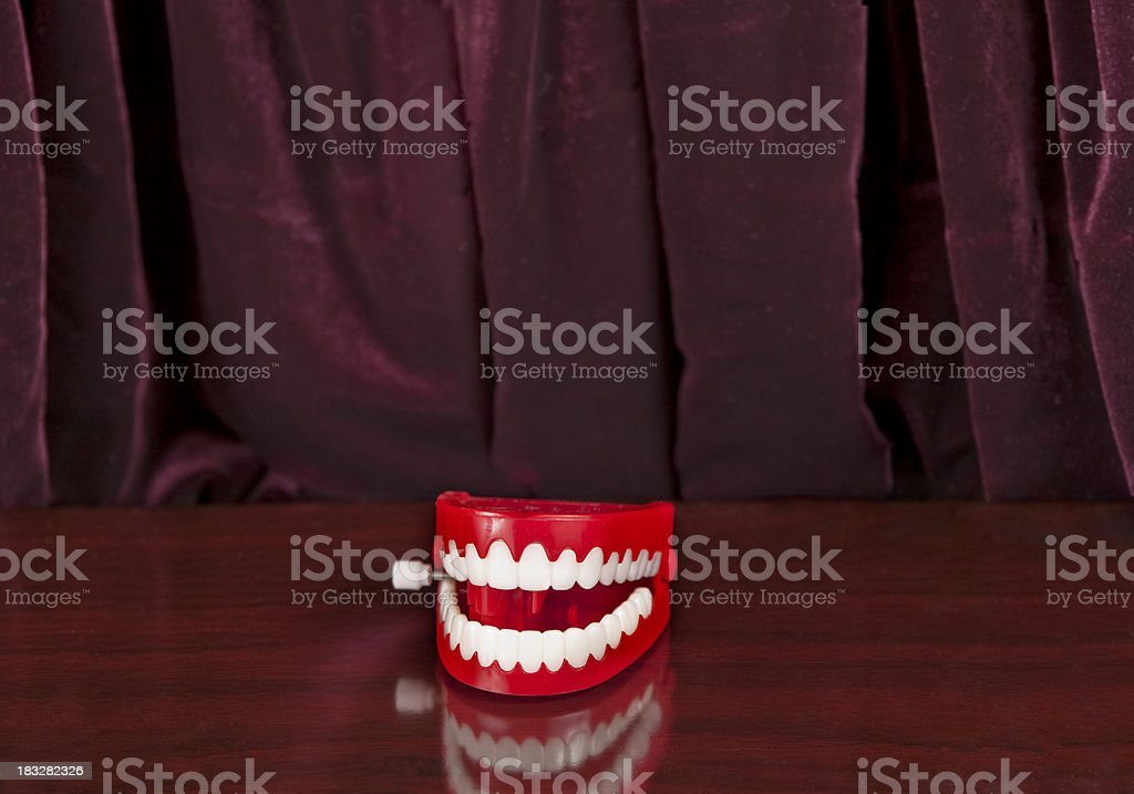 Joke Teeth doing Standup stock photo