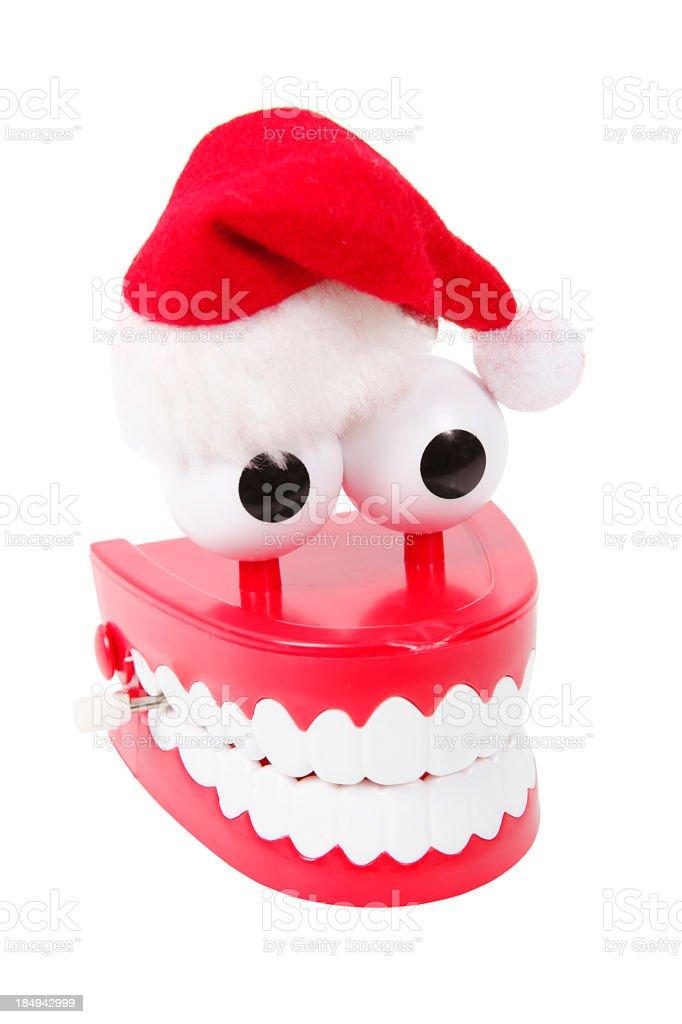 Joke Teeth with Santa hat stock photo