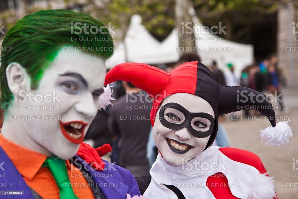 Joker admired by his girlfriend stock photo