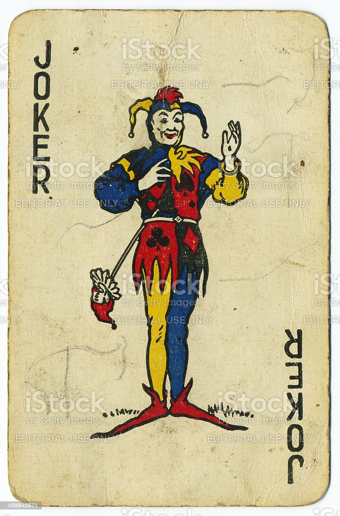 Joker old playing card from 1940s stock photo