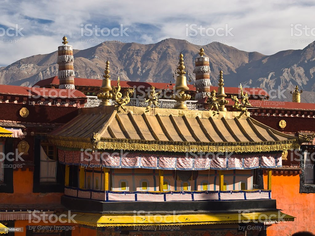 Jokhang monastery roof stock photo