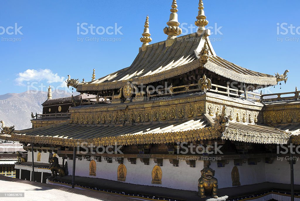 Jokhang, Songtsen Gampo stock photo