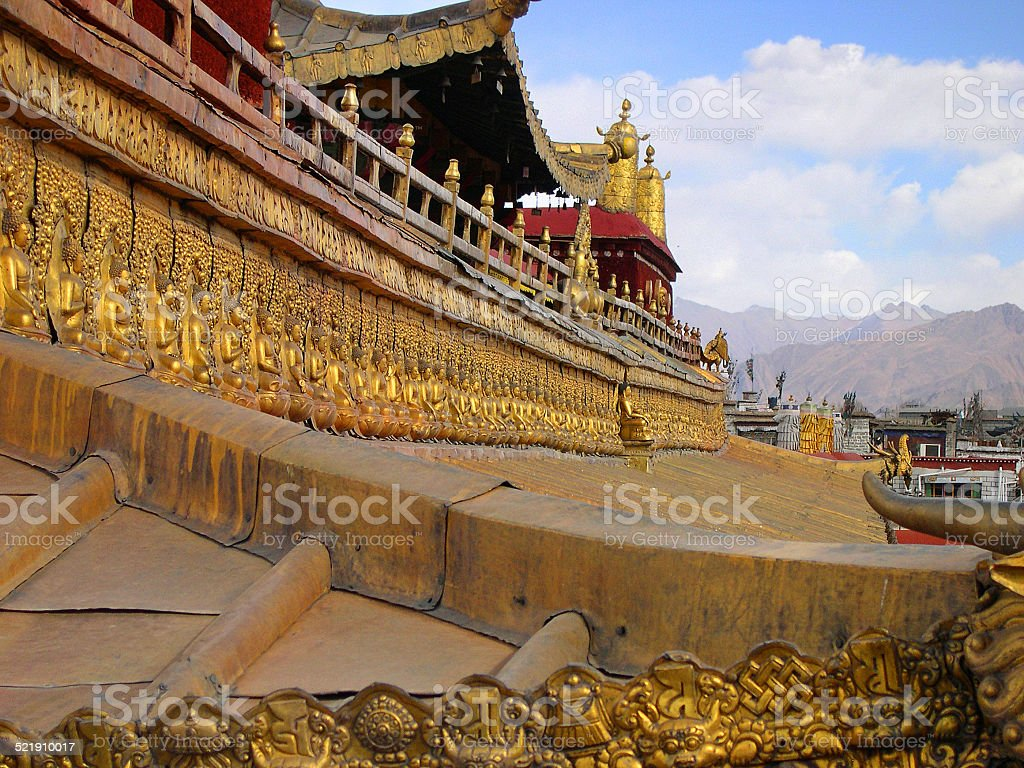 Jokhang temple roof details stock photo