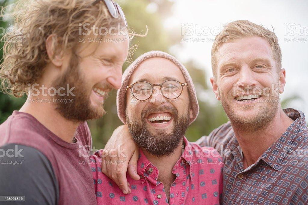 Joking around best friends having fun together stock photo