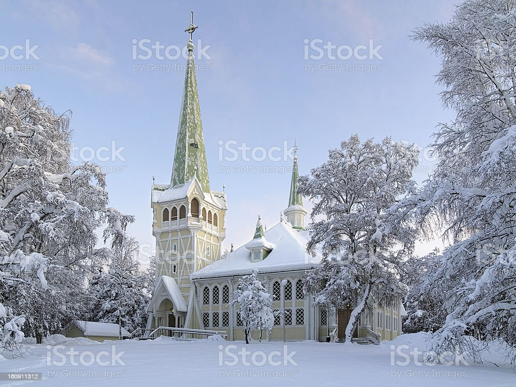Jokkmokk New Church in winter, Sweden royalty-free stock photo