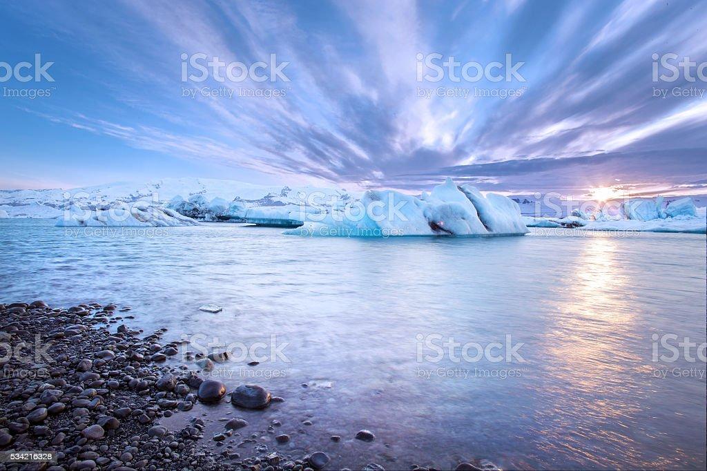 Jokulsarlon Glacial Lagoon at Sunset Near Hofn, Iceland stock photo