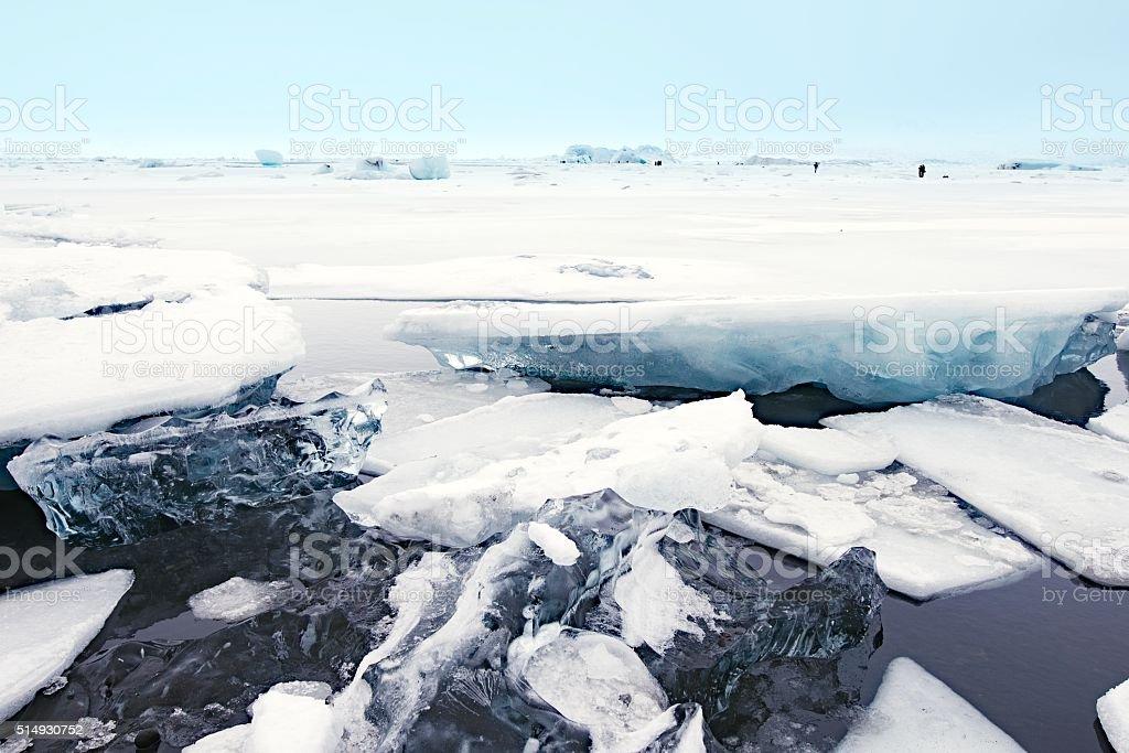 Jokulsarlon glacial lagoon in winter, Iceland stock photo