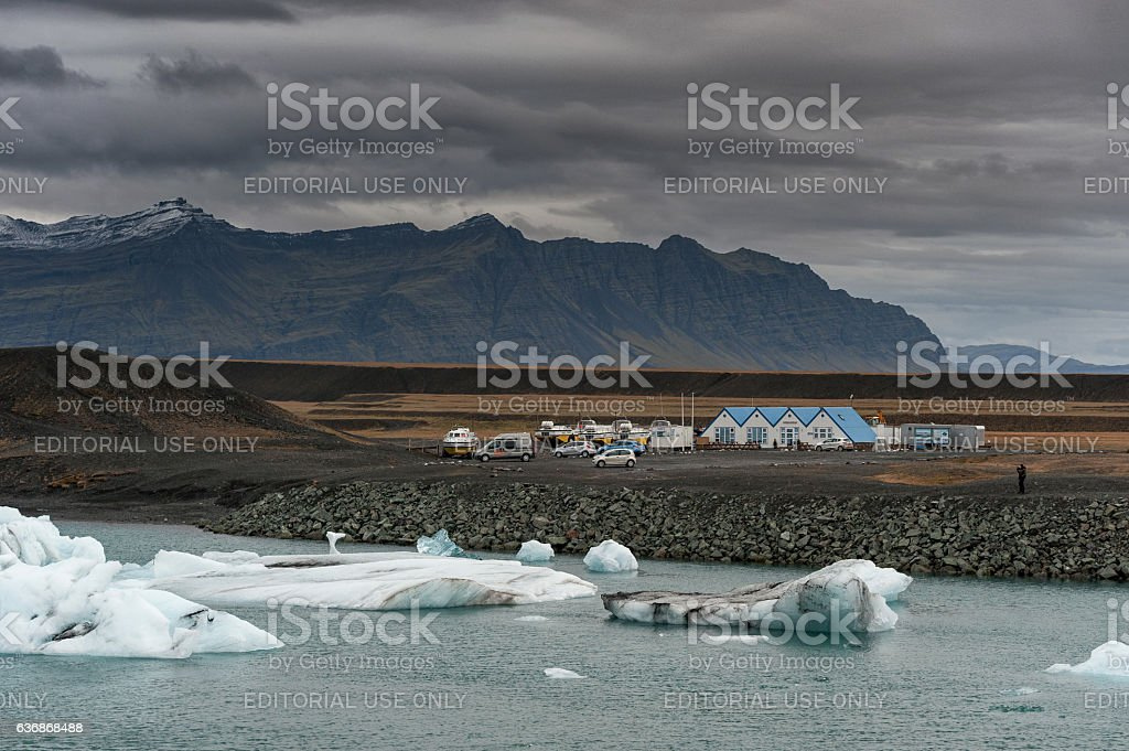 Jokulsarlon Glacier Lagoon and Mountain in Background stock photo