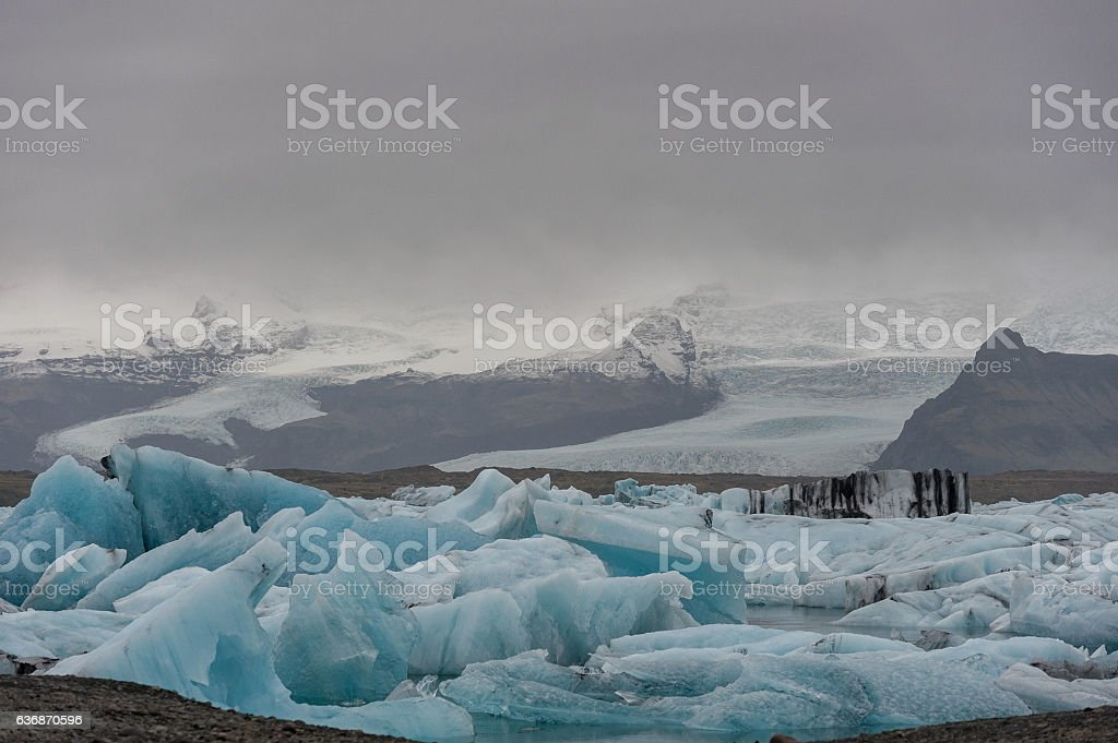 Jokulsarlon Glacier Lagoon and Mountain in Background. stock photo