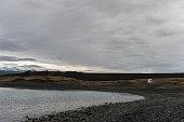 Jokulsarlon Glacier Lagoon in Iceland. Cloudy Sky,