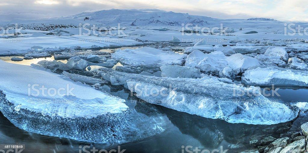 Jokulsarlon Iceberg Panorama stock photo