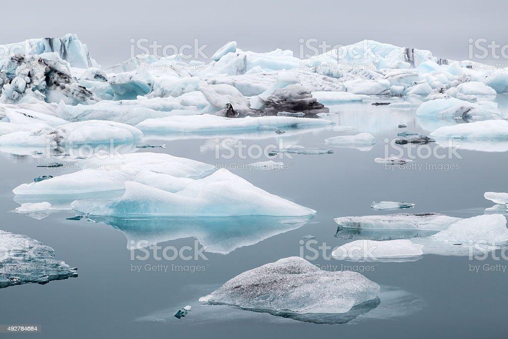 Jokulsarlon Icelandic glacier and Icebergs. stock photo
