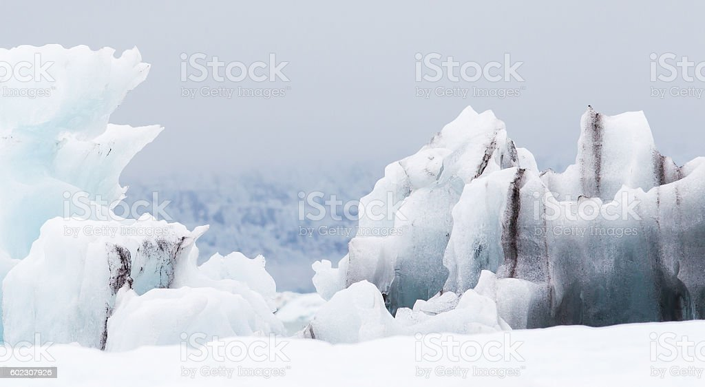 Jokulsarlon is a large glacial lake in southeast Iceland stock photo