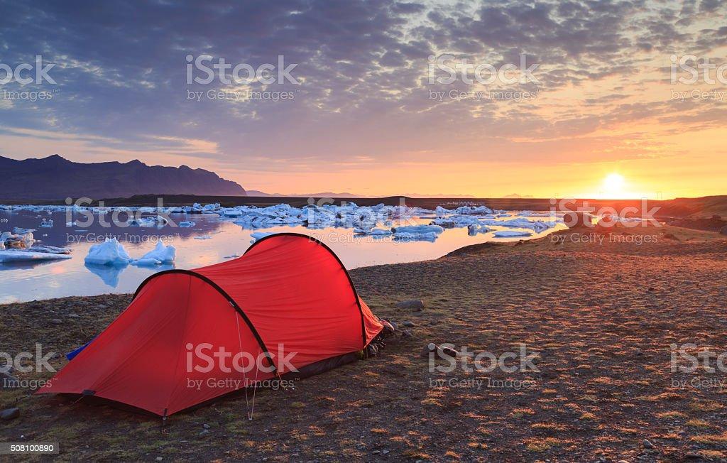 Jokulsarlon sunrise stock photo