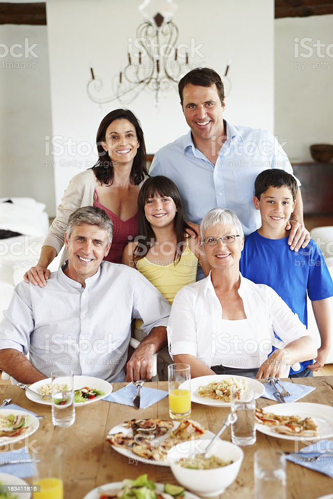 Jolly family dining together royalty-free stock photo