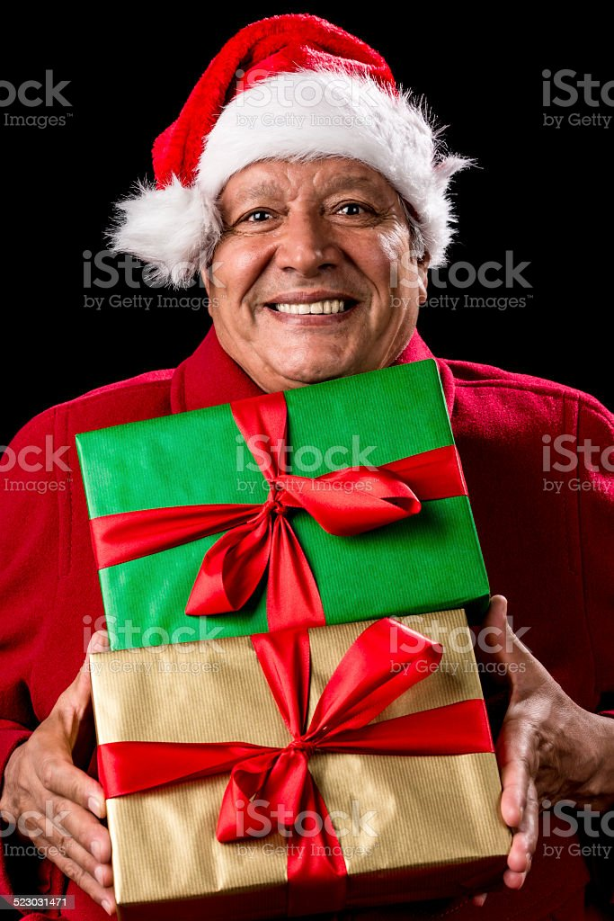 Jolly Male Pensioner In Red With Two Wrapped Gifts stock photo