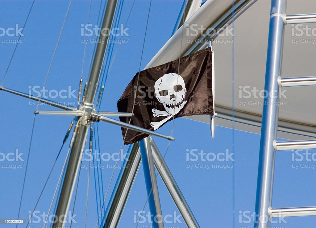 Jolly Roger Flag on a Ship royalty-free stock photo