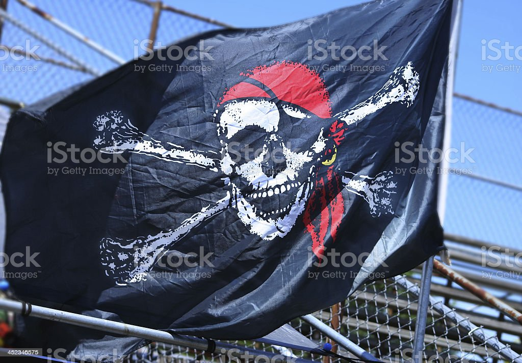 Jolly Roger Pirate Flag stock photo