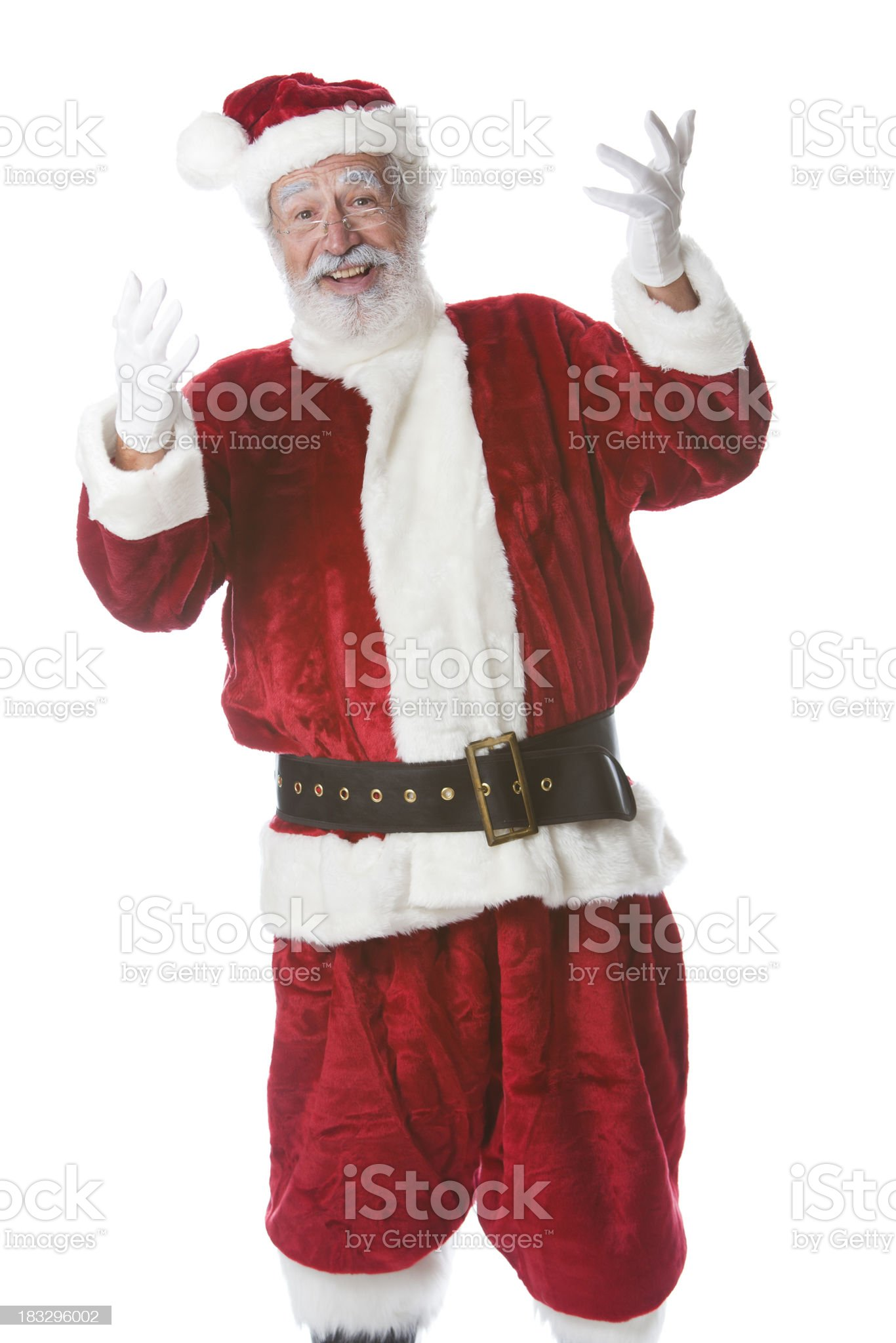 Jolly Santa from the Waist Up Gestures Excitedly royalty-free stock photo