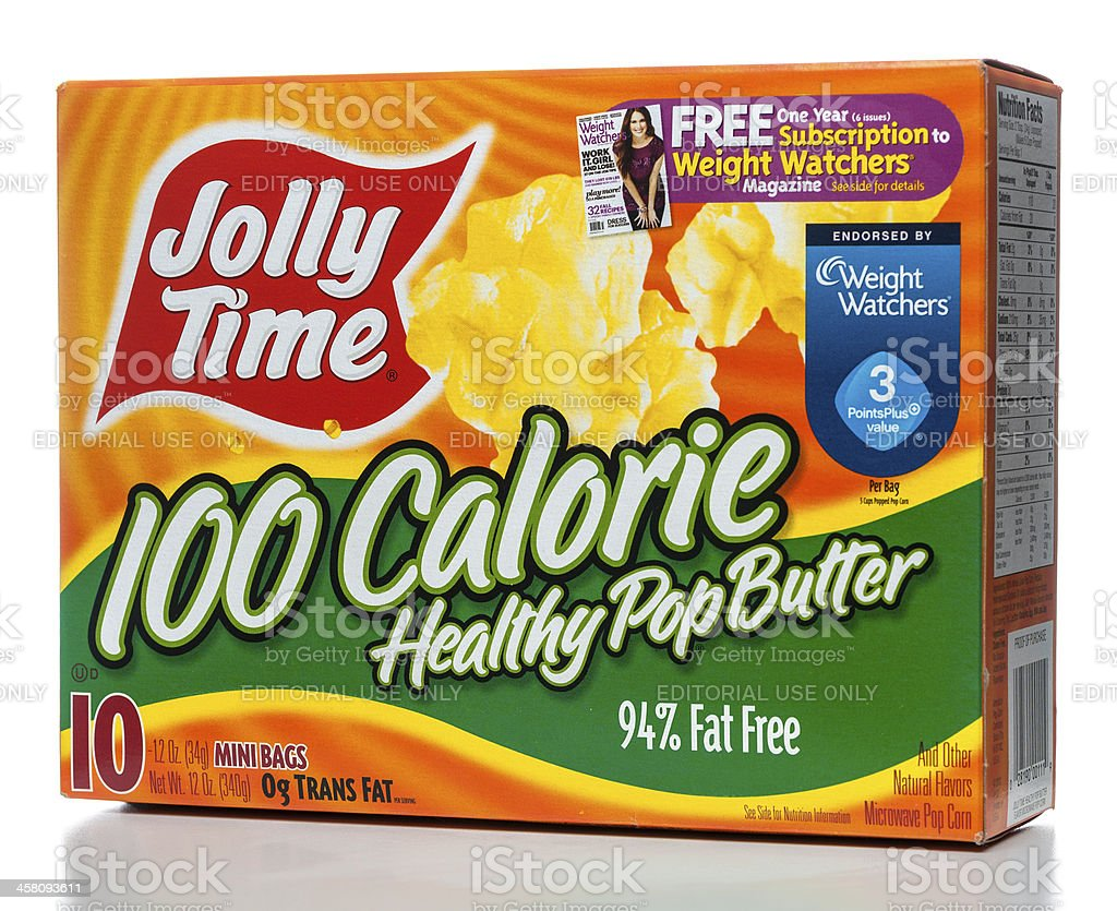 Jolly Time 100 Calorie Healthy Pop Butter box stock photo