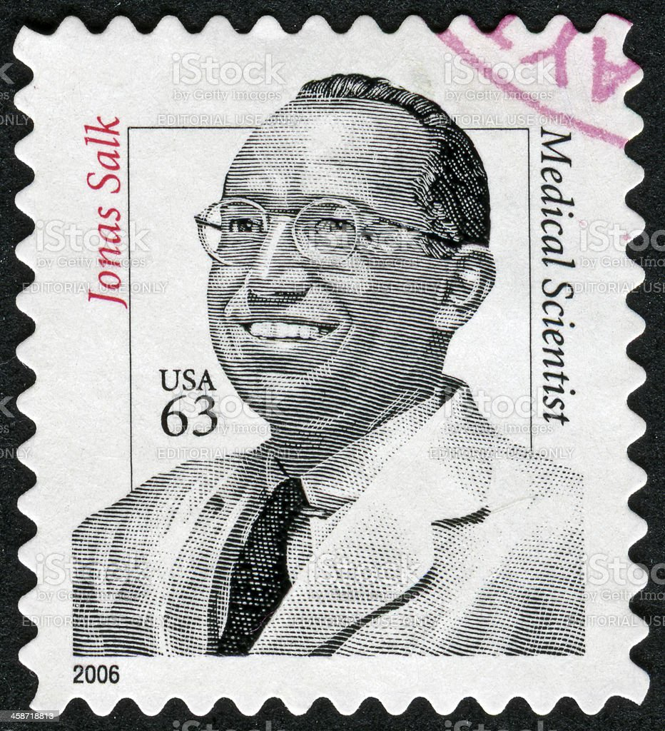 Jonas Salk Stamp stock photo