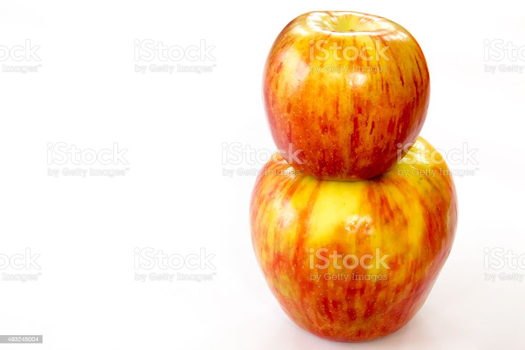 Jonathan apple atop a honeycrisp stock photo