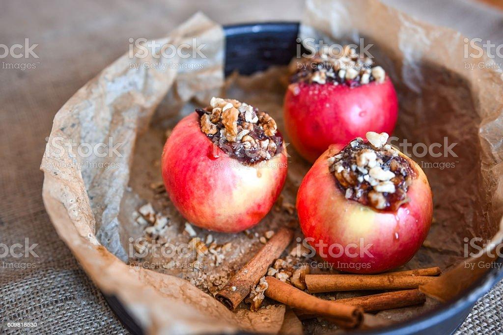 Jonathan red apples ready for baking, dessert stock photo
