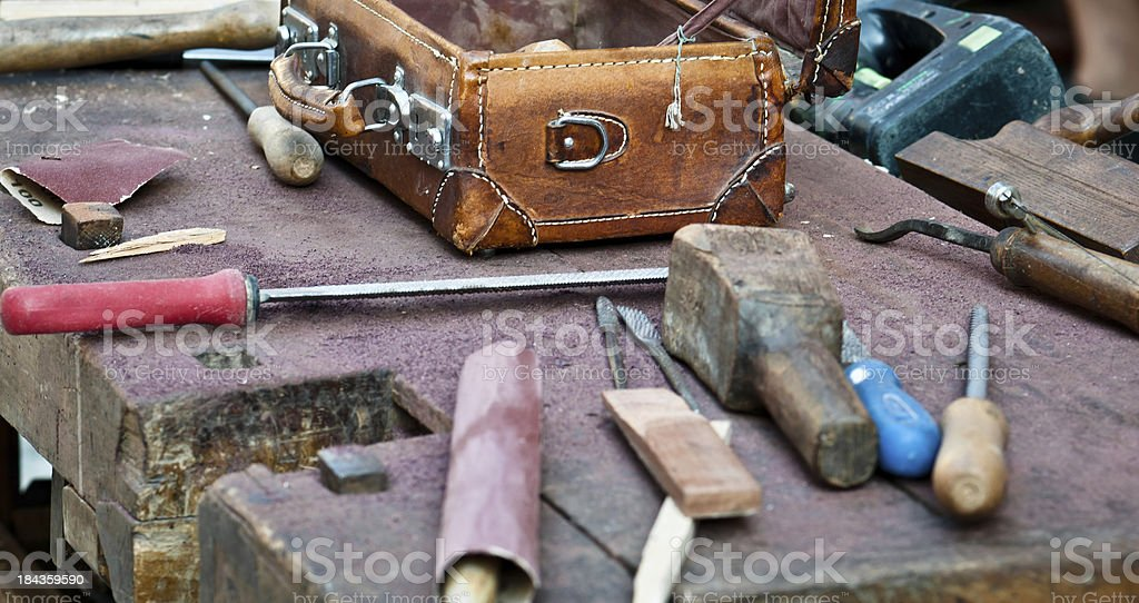 Joner's bench and tools royalty-free stock photo