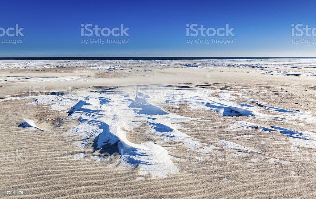 Jones Beach in winter: Snow and sand stock photo
