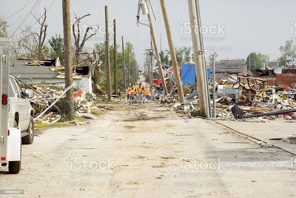 Joplin Missouri deadly F5 Tornado debris clean-up crew stock photo