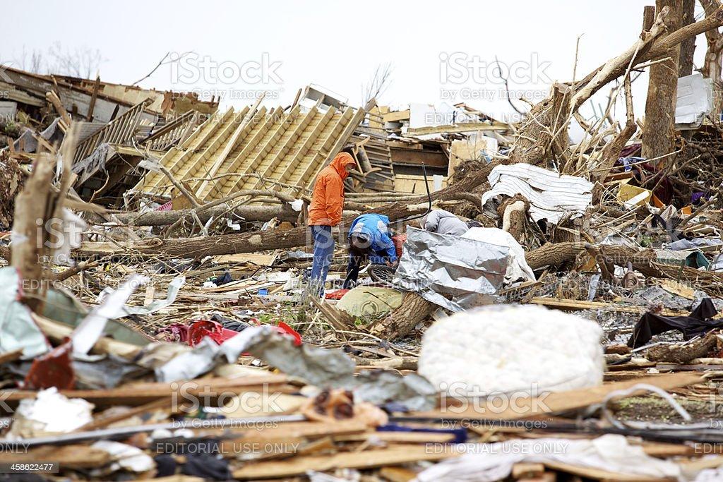 Joplin Missouri deadly F5 Tornado debris scattered stock photo