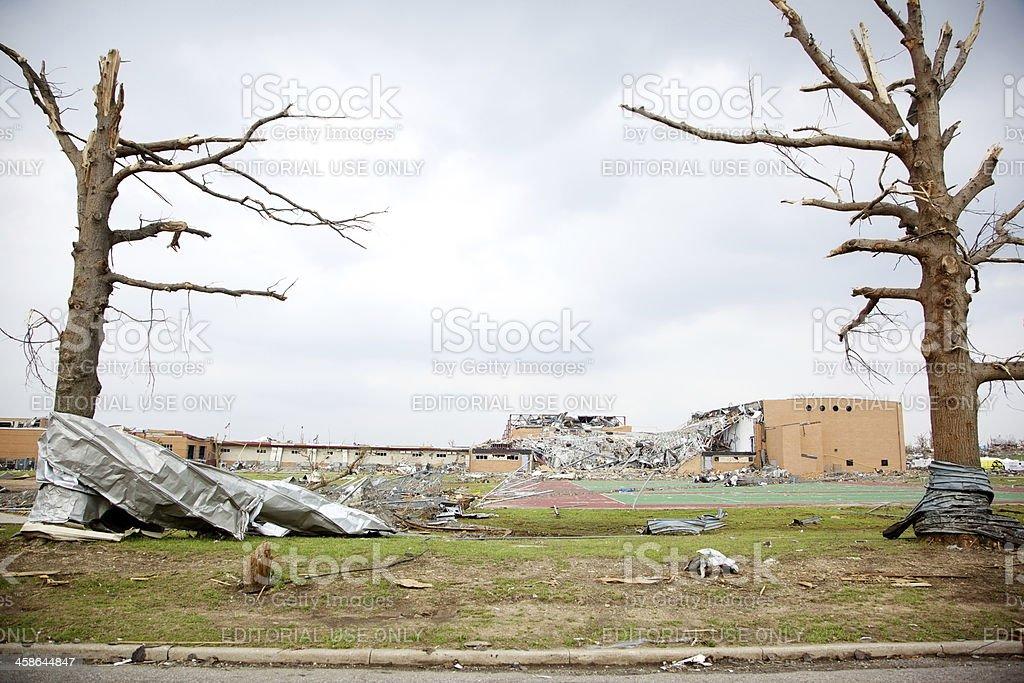 Joplin Missouri high school deadly F5 Tornado debris royalty-free stock photo