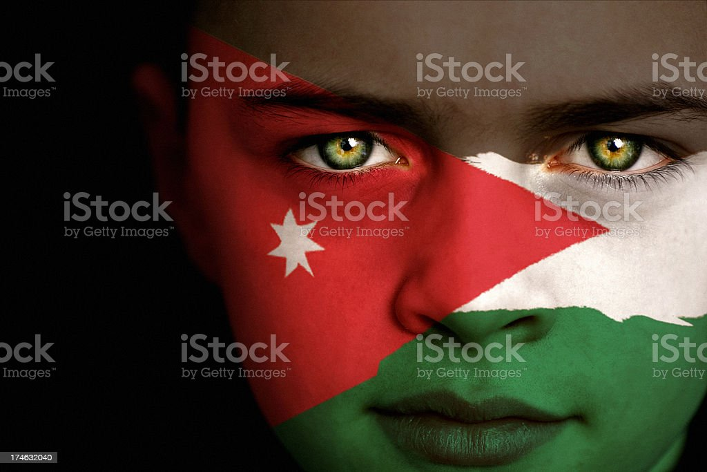Jordan flag boy stock photo