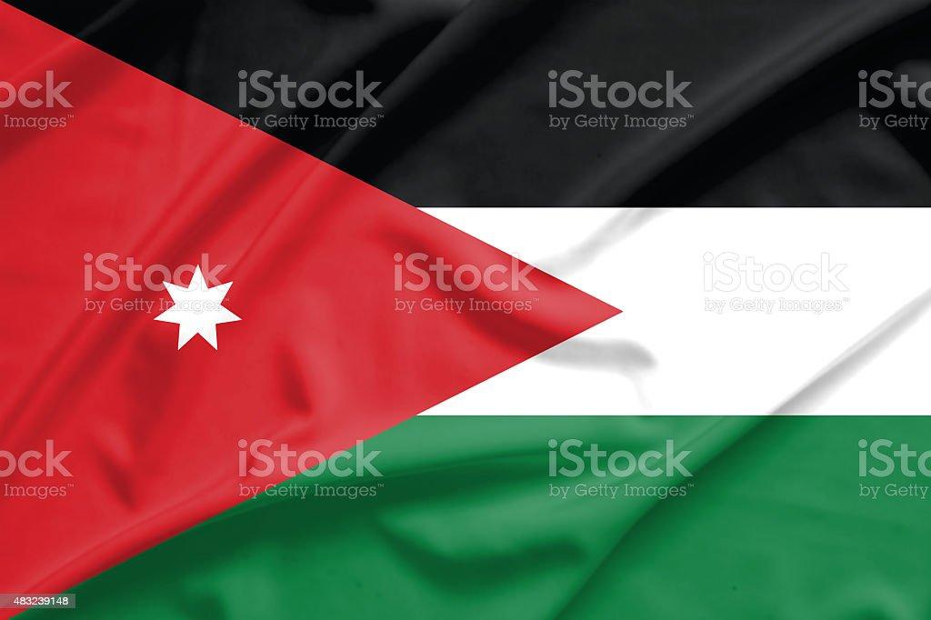 Jordan flag on soft and smooth silk texture stock photo