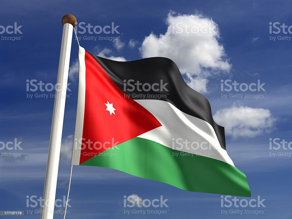 Jordan flag (with clipping path) stock photo