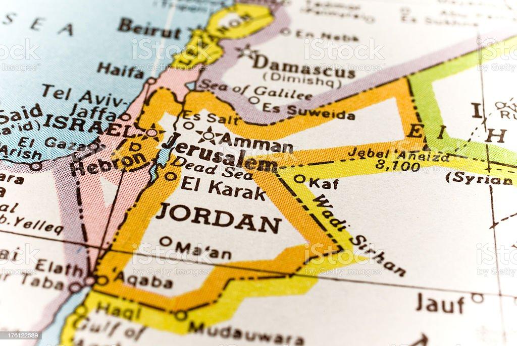 Jordan, Israel map royalty-free stock photo