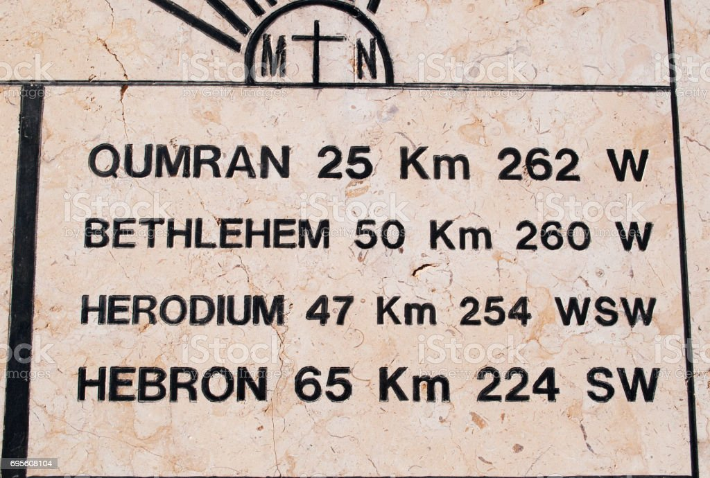 Jordan: laque with the distances to the main places and cities on Mount Nebo, elevated ridge mentioned in the Hebrew Bible as the place where Moses was granted a view of the Promised Land stock photo
