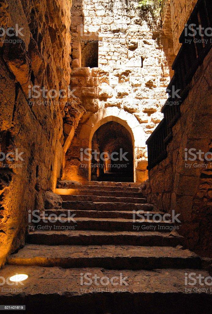 Jordan: long steps in Ajlun castle stock photo