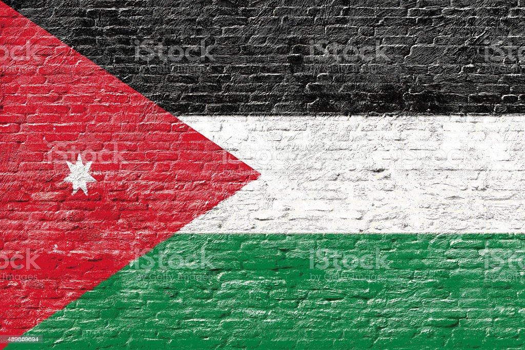 Jordan - National flag on Brick wall stock photo
