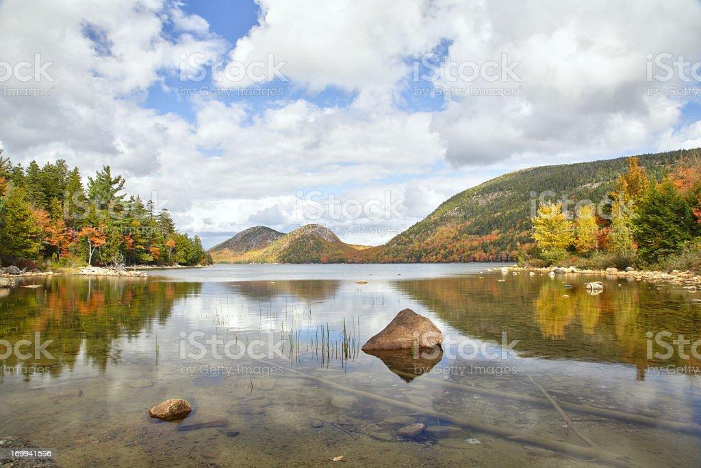 Jordan Pond and The Bubbles, Acadia National Park stock photo