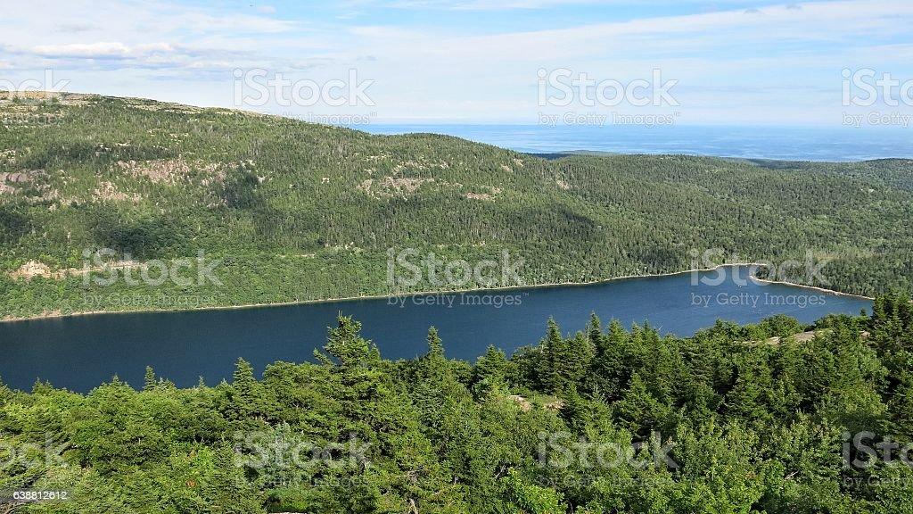 Jordan Pond from Penobscot Mountain, Acadia National Park, Maine stock photo
